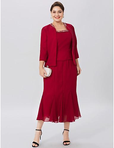 Sellő fazon Scoop nyak Tea-hossz Sifon Örömanya ruha val vel Gyöngydíszítés által LAN TING BRIDE®