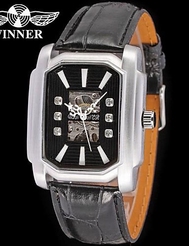 WINNER Męskie Nakręcanie automatyczne zegarek mechaniczny Zegarek na nadgarstek Hollow Grawerowanie Skóra Pasmo Błyszczące Na co dzień Do