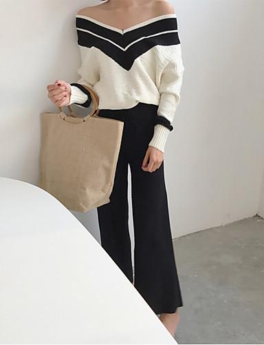 Damen Freizeit Baumwolle Langarm Pullover - Einfarbig V-Ausschnitt / Herbst