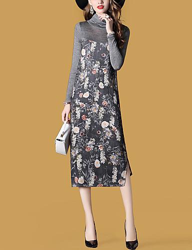 Damen Ausgehen Street Schick Etuikleid Kleid - Gespleisst, Druck Midi Rollkragen