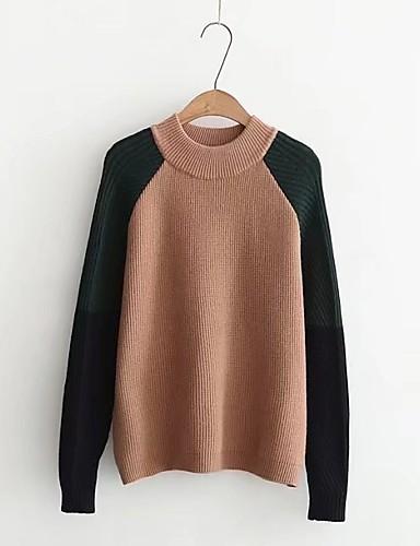 Damen Standard Pullover-Ausgehen Lässig/Alltäglich Solide Einfarbig Rundhalsausschnitt Langarm Andere Mittel Dick Mikro-elastisch