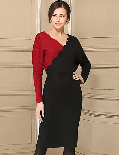Damen Einfach Hülle Kleid Einfarbig Knielang V-Ausschnitt