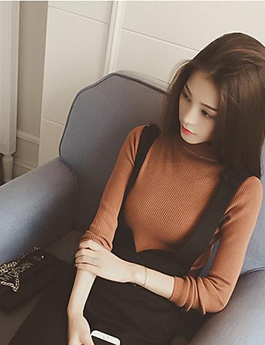 Damen Standard Pullover-Lässig/Alltäglich Einfach Solide Ständer Langarm Baumwolle Mittel Mikro-elastisch