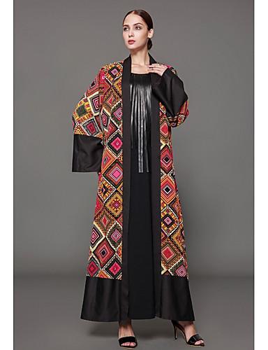 43886f3e4969 Women s Plus Size Daily Sophisticated Maxi Jalabiya Dress - Geometric Print  Spring