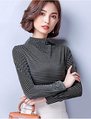 Damen Solide Retro Ausgehen T-shirt,Rundhalsausschnitt Langarm Polyester