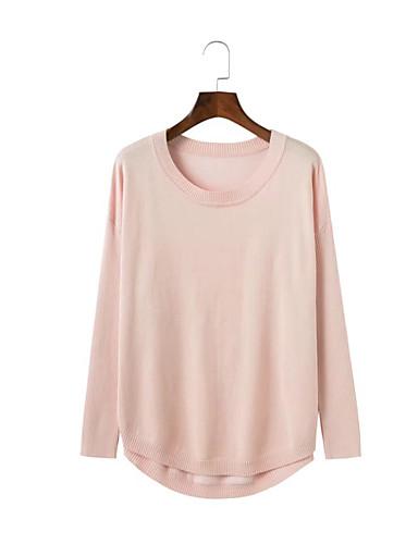 Damen Standard Pullover-Ausgehen Lässig/Alltäglich Solide Rundhalsausschnitt Langarm Wolle Baumwolle Andere Dünn Mittel Mikro-elastisch