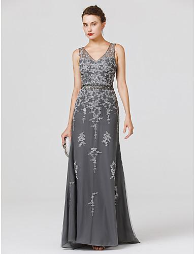 ราคาถูก งานแต่งงาน-ชีท / คอลัมน์ คอวี ลากพื้น Tulle สะท้อนแสง ค็อกเทลปาร์ตี้ / Prom / ทางการ แต่งตัว กับ ของประดับด้วยลูกปัด / เข็มกลัด โดย TS Couture®
