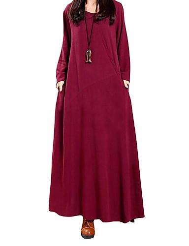 abordables Robes Femme-Femme Rétro Vintage Maxi énorme Ample Robe - énorme, Couleur Pleine Rétro Automne Hiver Vert Noir Vin Coton Manches Longues