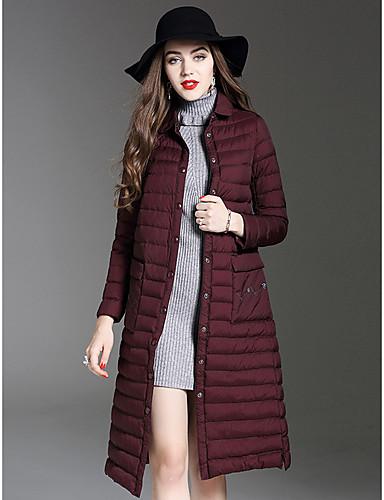 Damen Daunenjacke Mantel,Lang Einfach Ausgehen Lässig/Alltäglich Solide-Polyester Langarm