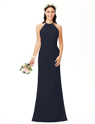cec7a70d7c65 Ίσια Γραμμή Με Κόσμημα Μακρύ Σιφόν Φόρεμα Παρανύμφων με Πλισέ με LAN TING  BRIDE®