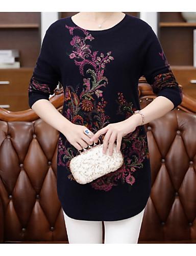 Damen Standard Pullover-Lässig/Alltäglich Druck Rundhalsausschnitt Langarm Wolle Baumwolle Herbst Winter Mittel Mikro-elastisch