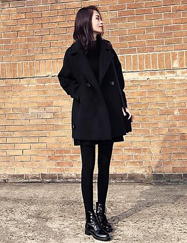 Damen Solide Einfach Lässig/Alltäglich Mantel,Hemdkragen Winter Herbst Langarm Lang Polyester
