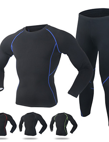 cheap Cycling Clothing-Men's Long Sleeve Cycling Jersey with Tights - Red Green Blue Solid Color Bike Quick Dry Winter Sports Solid Color Mountain Bike MTB Road Bike Cycling Clothing Apparel