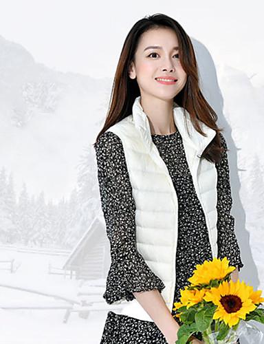 Damen Weste Mantel Einfach Ausgehen Lässig/Alltäglich Solide-Polyester Nylon Ärmellos