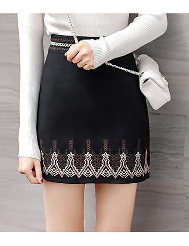 Damen Urlaub Asymmetrisch Röcke Druck Frühling Winter