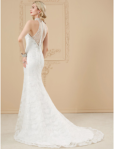 Cheap High Neck Wedding Dress