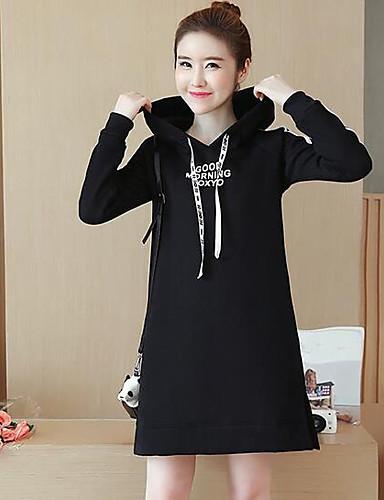 Damen Kapuzenshirt Lässig/Alltäglich Einfach Solide Gestreift Buchstabe Baumwolle Polyester