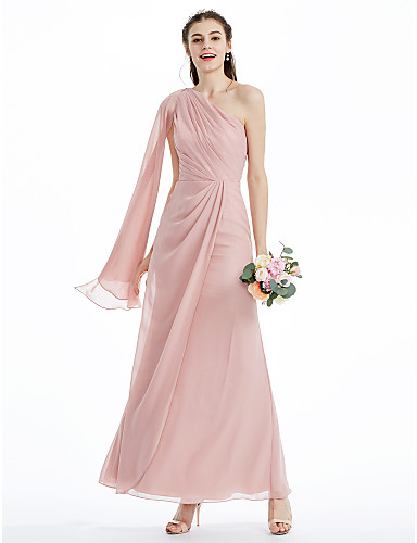 467ebb5295f A-Line   Ball Gown One Shoulder Ankle Length Chiffon Bridesmaid Dress with  Side Draping   Criss Cross   Pleats by LAN TING BRIDE®   Butterfly Sleeve