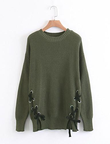Damen Lang Pullover-Lässig/Alltäglich Ausgehen Solide Rundhalsausschnitt Langarm Baumwolle Andere Dick Mittel Mikro-elastisch