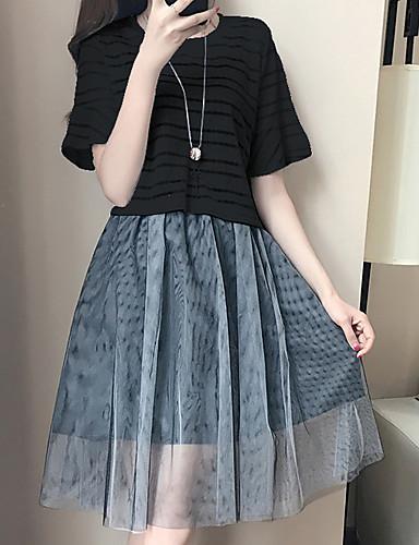 Damen Solide Druck Einfach Ausgehen Lässig/Alltäglich T-shirt Kleid Anzüge,Gurt Sommer Ärmellos Baumwolle Polyester