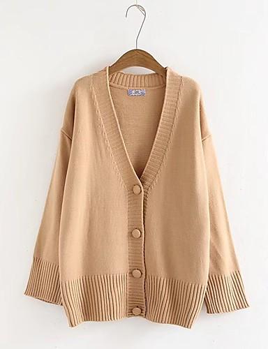 Damen Standard Strickjacke-Ausgehen Lässig/Alltäglich Solide V-Ausschnitt Langarm Baumwolle Andere Mittel Dick Dehnbar