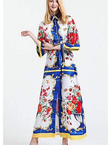 Damen Ausgehen Swing Kleid - Gespleisst, Druck Maxi Hemdkragen Hohe Hüfthöhe