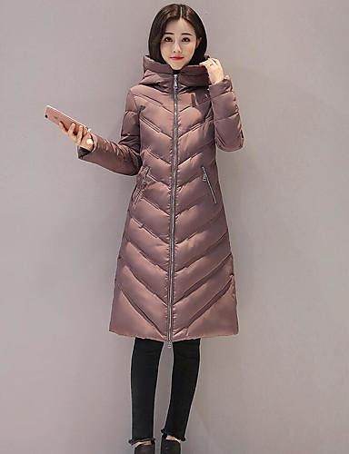 Damen Daunenjacke Mantel Einfach Lässig/Alltäglich Solide-Polyester Langarm