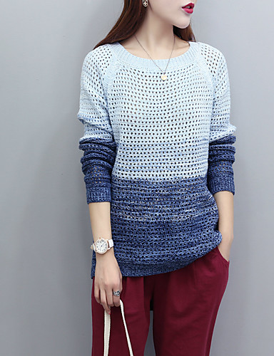 Damen Standard Pullover-Ausgehen Lässig/Alltäglich Einfarbig Rundhalsausschnitt Langarm Kaninchen-Pelz Baumwolle Andere Dünn Mittel