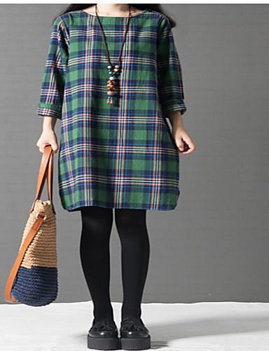 Damen Tunika Kleid-Ausgehen Schachbrett Rundhalsausschnitt Midi Langarm Baumwolle Mittlere Hüfthöhe Unelastisch Mittel