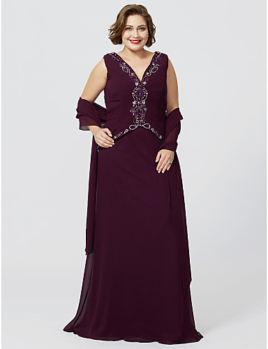 1b2586df3e6d0 Plus Size Sheath   Column V Neck Floor Length Chiffon Georgette Mother of  the Bride Dress with Beading Ruched by LAN TING BRIDE®