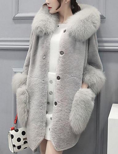 Napi Utcai sikk Kapucni Női Extra méret Hosszú Szőrmekabát Egyszínű Tél Ősz Nyúl szőrme Műszőrme