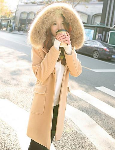 Damen Solide Einfach Freizeit Alltag Ausgehen Mantel,Mit Kapuze Winter Langarm Lang Baumwolle Acryl