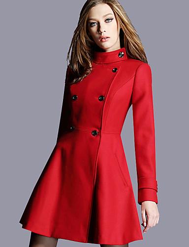 Damen Solide Einfach Freizeit Street Schick Anspruchsvoll Alltag Ausgehen Mantel Winter Herbst Standard Wolle Polyester