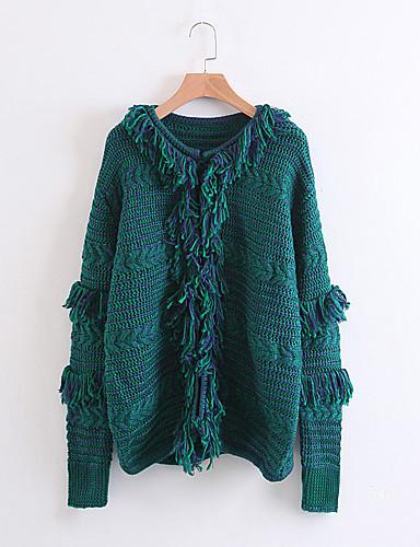 Damen Standard Pullover-Lässig/Alltäglich Solide Einfarbig Rundhalsausschnitt Langarm Andere Dünn Dehnbar
