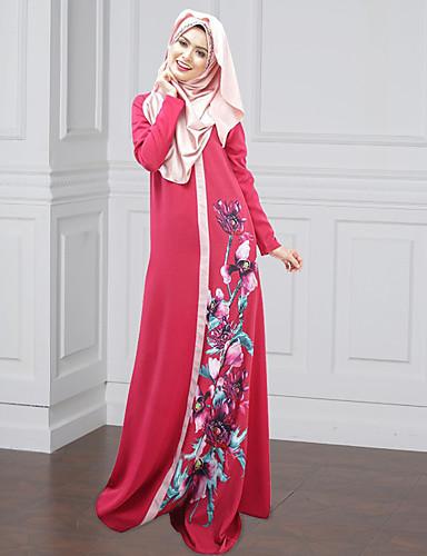 Damen Kaftan Kleid-Party Blumen Einfarbig Rundhalsausschnitt Maxi Langarm Polyester Frühling/Herbst Mittlere Hüfthöhe Mikro-elastisch