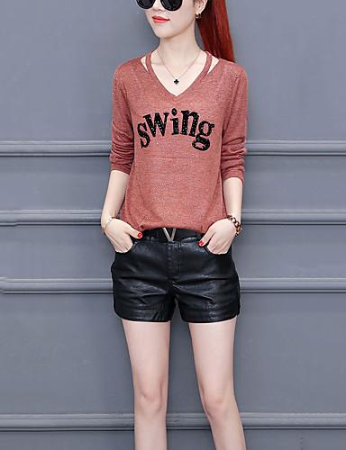Damen Buchstabe Ausgehen Lässig/Alltäglich Übergröße T-shirt,V-Ausschnitt Langarm Polyester Mittel