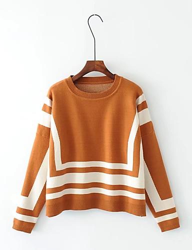 Damen Standard Pullover-Lässig/Alltäglich Ausgehen Einfarbig Rundhalsausschnitt Langarm Baumwolle Andere Dick Mittel Mikro-elastisch