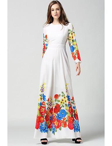 Damen Hülle Swing Kleid-Alltag Blumen Rundhalsausschnitt Knielang Langarm Polyester Frühjahr, Herbst, Winter, Sommer Hohe Taillenlinie