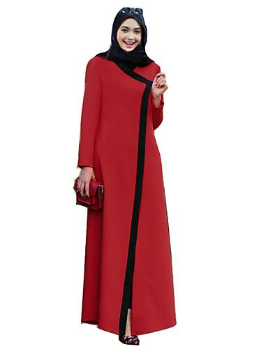 Damen Kaftan Kleid-Alltag Einfarbig V-Ausschnitt Maxi Langarm Baumwolle Polyester Winter Herbst Mittlere Hüfthöhe Mikro-elastisch Mittel