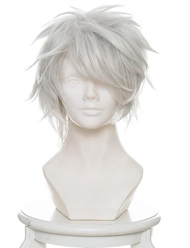 billige Cosplay og kostumer-12 krige / juni Taisen Usagi / Kanin Cosplay Parykker Herre 12 inch Varmeresistent Fiber Sølv Anime