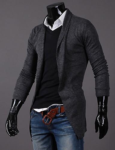 Męskie Aktywny Kołnierzyk koszuli Sweter rozpinany Solidne kolory Długi rękaw
