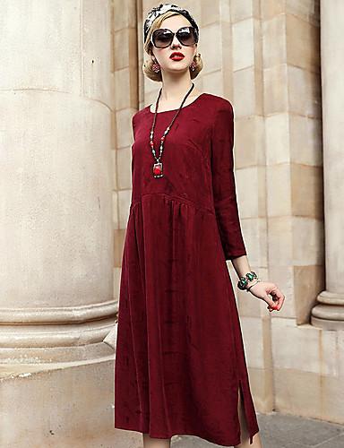 Damen A-Linie Kleid-Ausgehen Lässig/Alltäglich Solide Rundhalsausschnitt Maxi Langärmelige Polyester Herbst Mittlere Hüfthöhe