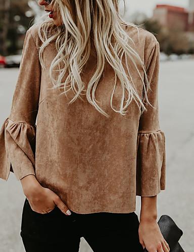Damen Solide Street Schick Ausgehen Lässig/Alltäglich T-shirt,Rundhalsausschnitt 3/4 Ärmel Polyester Mittel