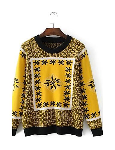 Damen Standard Pullover-Ausgehen Lässig/Alltäglich Druck Einfarbig Rundhalsausschnitt Langarm Baumwolle Andere Dünn Mittel Mikro-elastisch