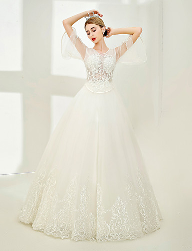291311739f7b Βραδινή τουαλέτα Με Κόσμημα Μακρύ Τούλι   Διάφανη δαντέλα Φορέματα γάμου  φτιαγμένα στο μέτρο με Χάντρες