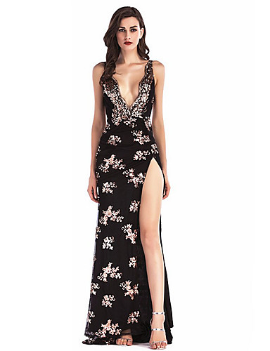 Women s Sequins Party Maxi Sheath Dress - Floral Black Strap Summer Gold  Black Pink M L XL   Sexy a02fd0de1