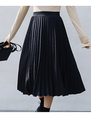 Damen Midi Röcke A-Linie einfarbig
