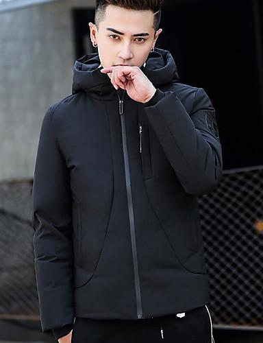 Herren Gefüttert Mantel Einfach Lässig/Alltäglich Ausgehen Solide-Polyester Langarm