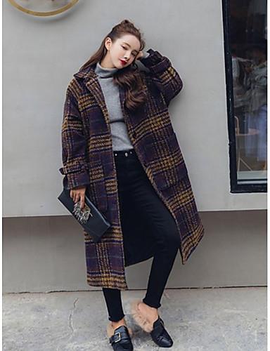 Damen Solide Verziert Einfach Ausgehen Lässig/Alltäglich Mantel Winter Langarm Lang Acryl Polyester