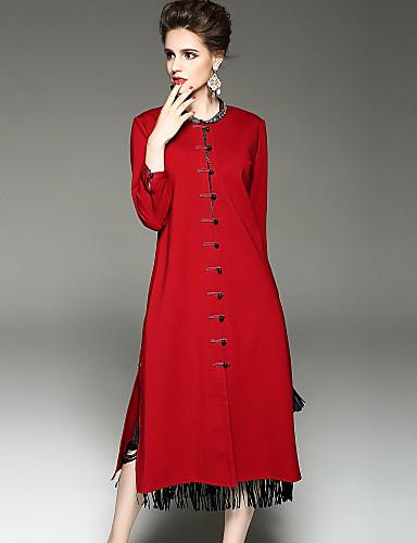 Płaszcz Długi Damskie Wyrafinowany styl Wzornictwo chińskie Moda miejska Zima Jesień Codzienny Wyjściowe Okrągły dekolt Jendolity kolor